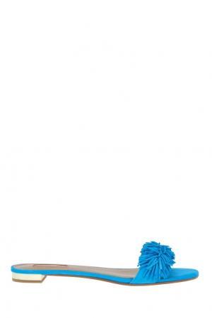 Замшевые сандалии Wild Thing Aquazzura. Цвет: ярко-голубой