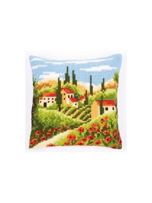 Набор для вышивания лицевой стороны наволочки Тосканский пейзаж 40*40см Vervaco. Цвет: зеленый, голубой, коричневый, красный