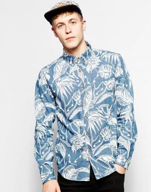 Son of Wild Джинсовая рубашка с принтом. Цвет: синий