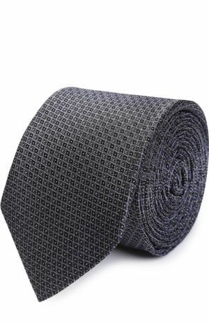 Шелковый галстук с узором BOSS. Цвет: синий
