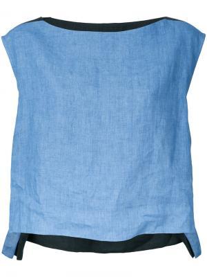 Блузка дизайна колор-блок Demoo Parkchoonmoo. Цвет: синий