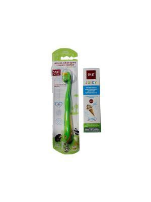 Splat  набор Juicy Мороженое (Зубная паста детская + Зубная щетка Kids зеленая)*2. Цвет: белый
