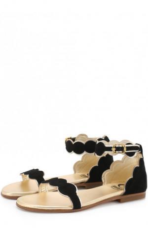 Замшевые сандалии на ремешке Gallucci. Цвет: черный