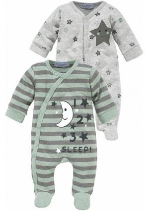 Пижама, 2 штуки KLITZEKLEIN. Цвет: серый/мятный