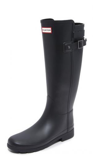 Изящные сапоги Original с ремешком сзади Hunter Boots. Цвет: голубой