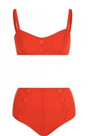 Раздельный купальник с плавками завышенной талией Lisa Marie Fernandez. Цвет: красный