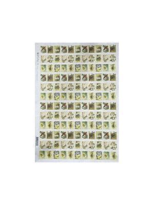 Декупажная карта 32*45 новогодние марки Idigo. Цвет: сиреневый, прозрачный