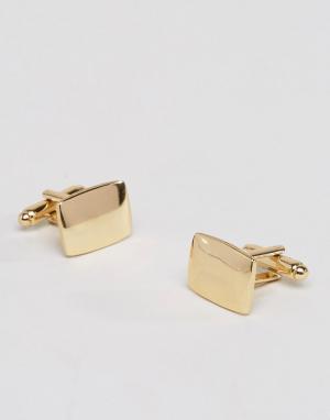 ASOS Золотистые квадратные запонки. Цвет: золотой