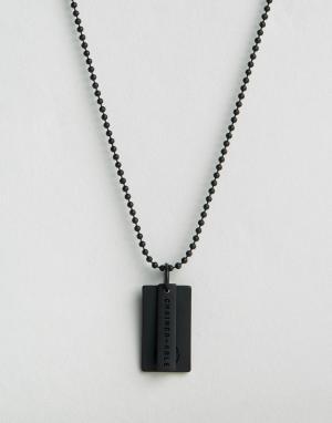 Chained & Able Черное матовое ожерелье с солдатским жетоном логотипом Abl. Цвет: черный