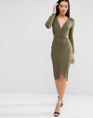 ASOS Платье миди с длинными рукавами и драпировкой вырезом. Цвет: черный