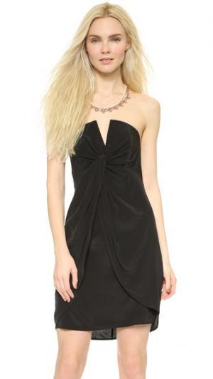 Шелковое платье с V-образным вырезом Zimmermann. Цвет: жемчужный
