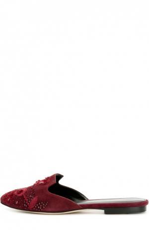 Замшевые сабо с декором Oscar de la Renta. Цвет: бордовый