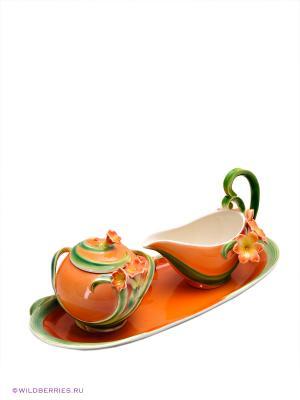 Набор: сахарница и молочник Кливия Pavone. Цвет: оранжевый, зеленый