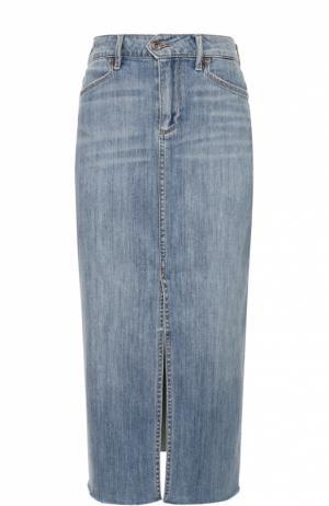 Джинсовая юбка-миди с разрезом и необработанным краем Paige. Цвет: голубой