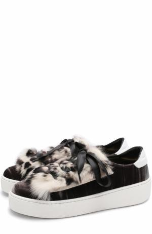 Бархатные кеды с декоративной отделкой на шнуровке Baldan. Цвет: коричневый