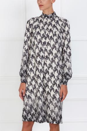 Шелковое платье VIKTORIA IRBAIEVA. Цвет: молочный, черный