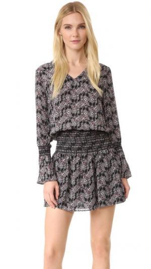 Платье с длинными рукавами, V-образным вырезом и мелкими сборками на юбке Derek Lam 10 Crosby. Цвет: черный мульти