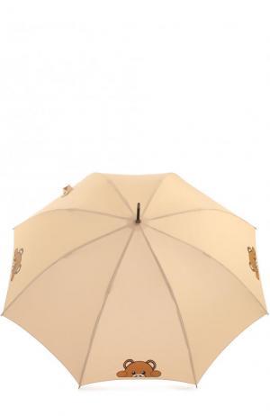 Зонт-трость с принтом Moschino. Цвет: кремовый
