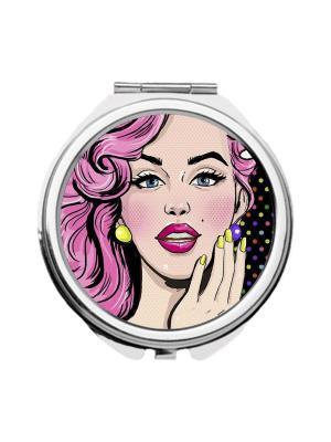 Зеркальце карманное Девушка поп-арт Chocopony. Цвет: фиолетовый, бежевый, розовый