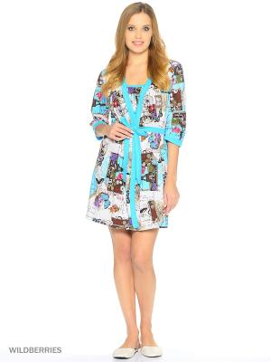 Комплект домашней одежды ( халат, ночная сорочка) HomeLike. Цвет: голубой, молочный