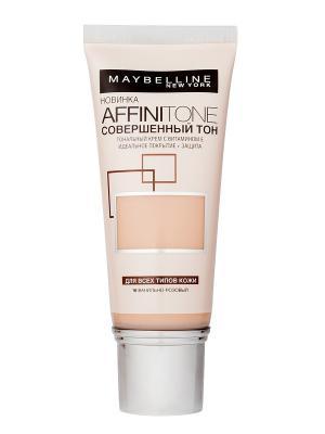 Тональный крем для лица Affinitone, выравнивающий и увлажняющий, с аргановым маслом, оттенок 16, В Maybelline New York. Цвет: розовый