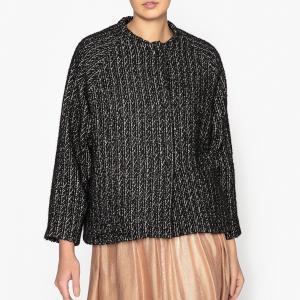 Пиджак двухцветный свободного покроя из шерсти меланж POMANDERE. Цвет: черный/ белый