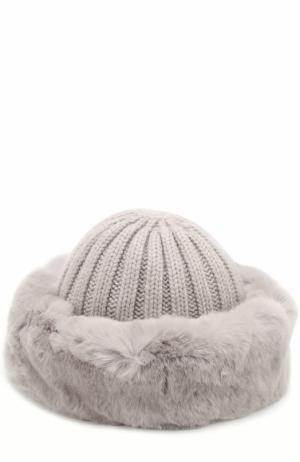 Вязаная шапка из шерсти с меховой отделкой Nima. Цвет: серый