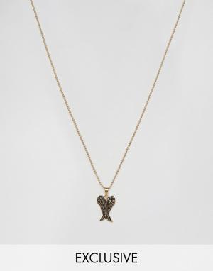 Seven London Золотистое ожерелье с подвеской эксклюзивно для ASOS. Цвет: золотой