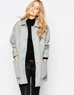 Parka London Шерстяное пальто в стиле oversize. Цвет: серый
