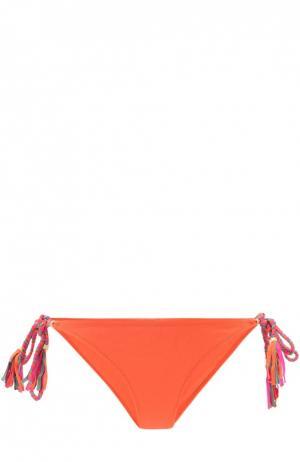 Плавки-бикини с контрастной декоративной отделкой Lazul. Цвет: оранжевый