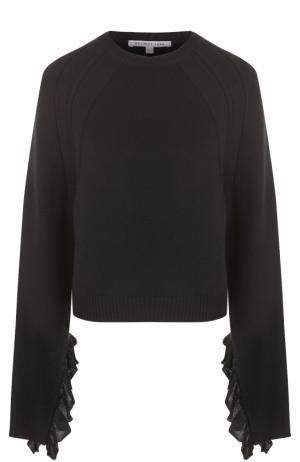 Пуловер свободного кроя с кружевной отделкой рукавов Helmut Lang. Цвет: черный