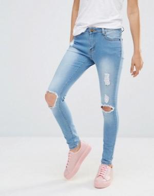 Liquor & Poker Рваные зауженные джинсы с классической талией and. Цвет: синий