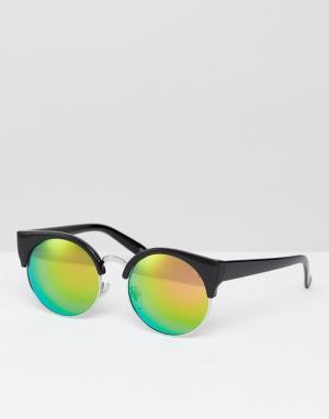 Jeepers Peepers Солнцезащитные очки в стиле ретро с затемненными стеклами Peep. Цвет: черный