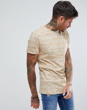 ASOS Светло-коричневая облегающая футболка из легкого трикотажа с подвернут. Цвет: рыжий