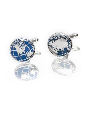 Запонки планета 2 полушария море Churchill accessories. Цвет: серебристый