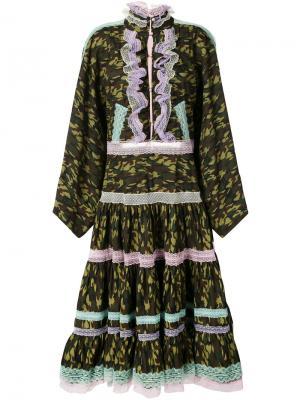 Камуфляжное платье с кружевной оторочкой Natasha Zinko. Цвет: зелёный