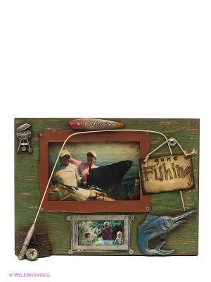 Фоторамка Рыбалка 10х15см PLATINUM quality. Цвет: зеленый, коричневый