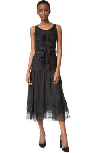 Кружевное платье Chanel (бывшее в употреблении) What Goes Around Comes. Цвет: голубой