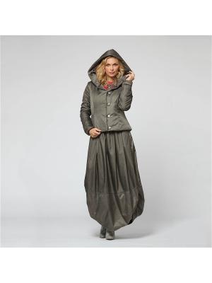 Костюм: юбка, куртка KATA BINSKA. Цвет: серо-зеленый