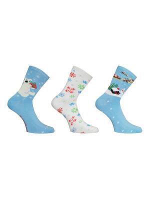 Носки, 3 пары Master Socks. Цвет: голубой, молочный