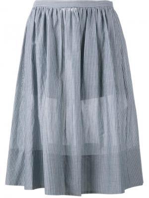 Полосатая юбка длины миди Vince. Цвет: синий