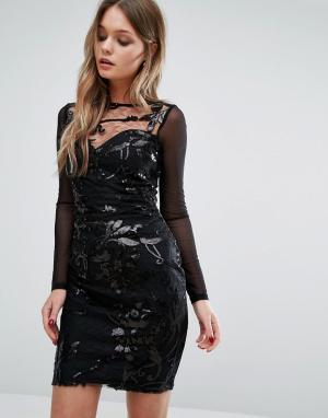 Lipsy Платье с длинными рукавами и узором из пайеток. Цвет: черный