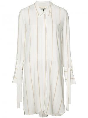 Платье-рубашка в полоску Halston Heritage. Цвет: белый
