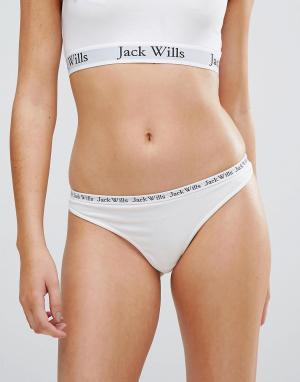 Jack Wills Стринги с логотипом на поясе. Цвет: белый