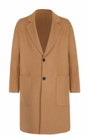 Однобортное пальто свободного кроя из смеси шерсти и кашемира Ami. Цвет: бежевый