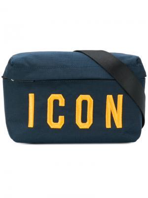 Поясная сумка с вышивкой ICON Dsquared2. Цвет: синий