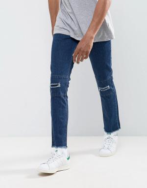 Hoxton Denim Укороченные джинсы слим с рваной отделкой и необработанными краями Hox. Цвет: синий