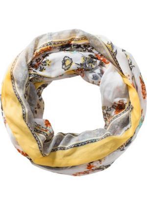 Пастельный шарфик-снуд с цветами (белый/желтый) bonprix. Цвет: белый/желтый
