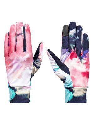 Перчатки ROXY. Цвет: темно-синий, лазурный, розовый