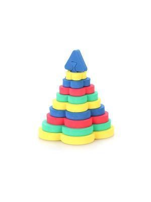 Развивающая игрушка пирамида Цветок БОМИК. Цвет: светло-зеленый, красный, фиолетовый